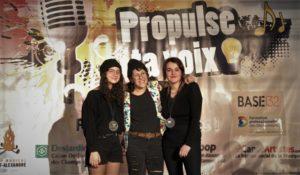 Sur la photo de gauche à droite : Clara Magnan-Bossé, Vanwho, Gabrielle Rivest